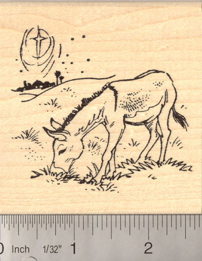 Christmas Donkey near Bethlehem Rubber Stamp