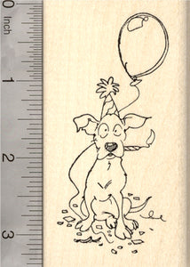 Birthday Dog with Candle Rubber Stamp