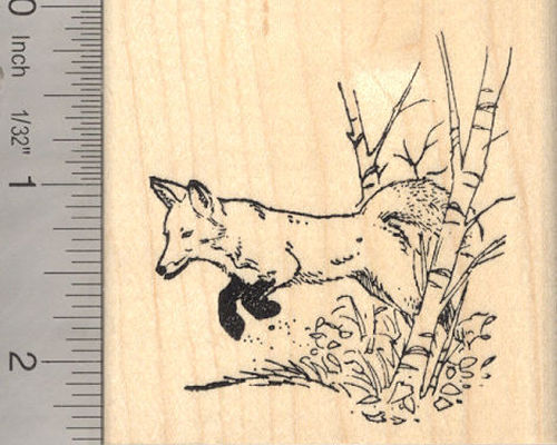 Leaping Fox Rubber Stamp