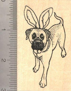 Easter Mastiff Dog in Bunny Ears Rubber Stamp