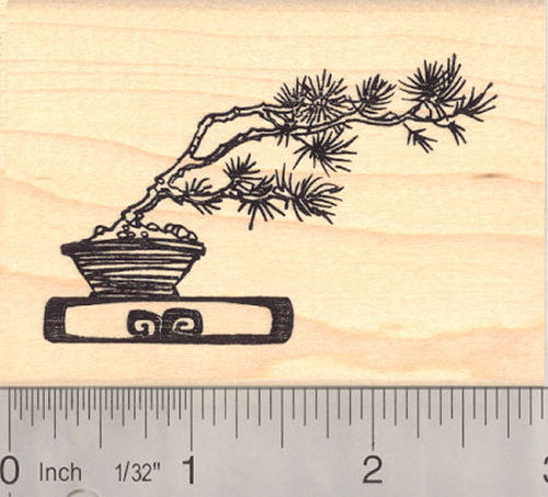 Windswept Bonsai Tree Rubber Stamp