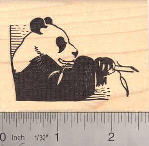 Giant Panda Eating Bamboo Rubber Stamp