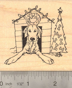 Christmas Dog House Rubber Stamp