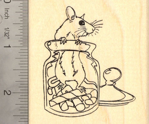 Christmas Rat in Candy Cane Jar Rubber Stamp