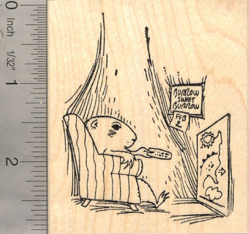 Groundhog Day Weather Channel Rubber Stamp