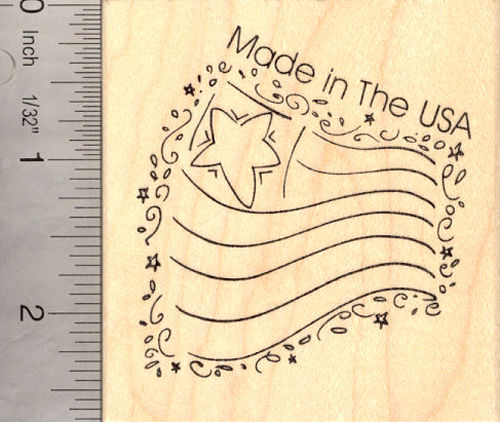 Made in the USA Flag Rubber Stamp, American