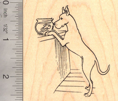 Great Dane with Goldfish Rubber Stamp