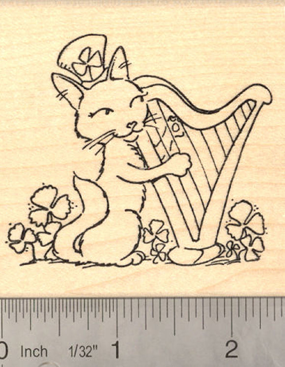 St. Patrick's Day Cat playing Harp Rubber Stamp