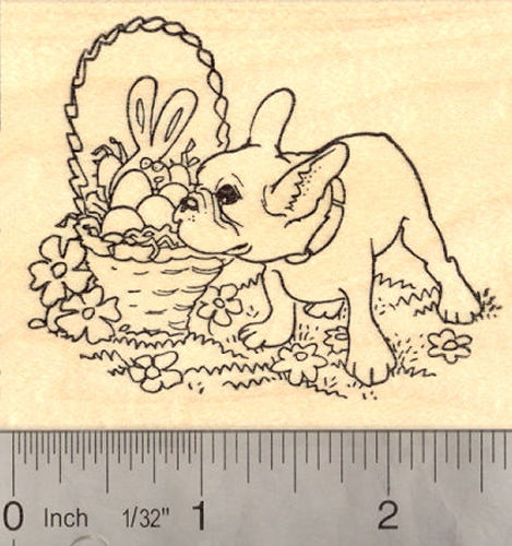 Easter French Bulldog Rubber Stamp