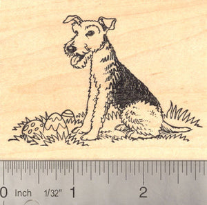 Easter Airedale Terrier dog Rubber Stamp