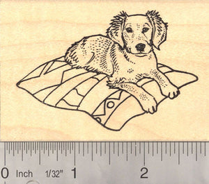 Golden Retriever Puppy on Blanket Rubber Stamp
