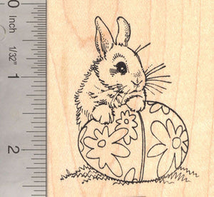 Bunny Rabbit with Easter Egg Rubber Stamp