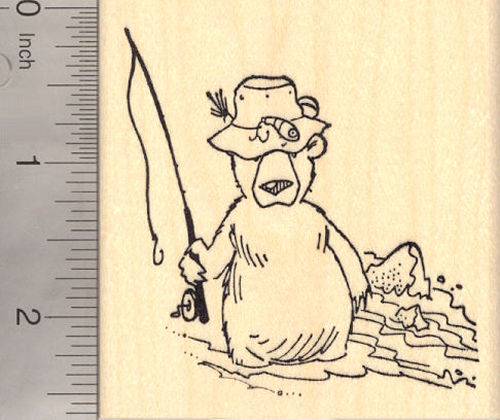 Fishing Bear Rubber Stamp, Happy Father's Day Gone Fishing