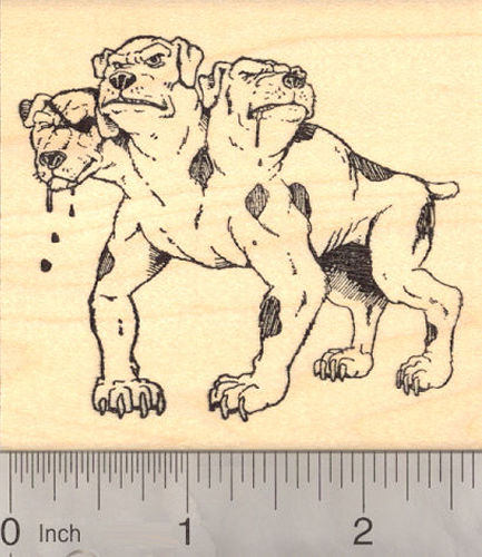 Cerberus, Three Headed Dog Rubber Stamp (From Greek and Roman Mythology)
