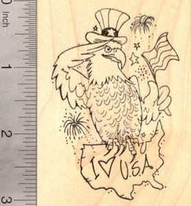 4th of July Eagle Rubber Stamp, Patriotic American Flag and The United States (fourth of July, July 4th)
