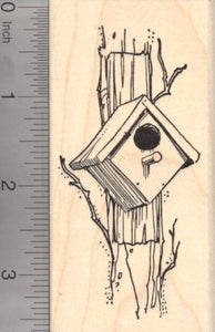 Birdhouse, Nestbox Rubber Stamp, Bird House or Nest