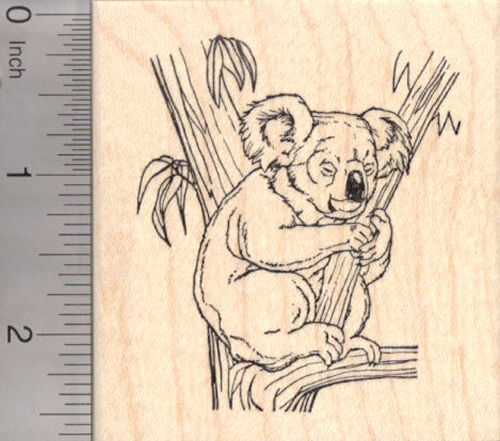 Koala Bear Sleeping in Tree Rubber Stamp