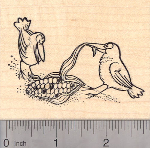 Crows Eating Ear of Corn Rubber Stamp, Thanksgiving, Fall Stamp