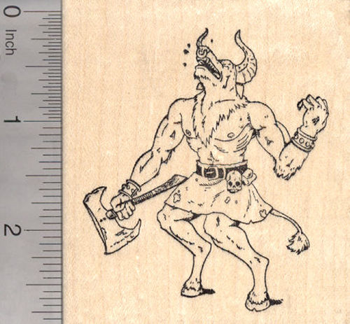 Minotaur Rubber Stamp, Greek Mythology, Slain by Theseus Bull of Minos