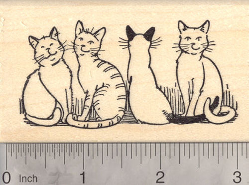 Cat Rubber Stamp, Line of Cats, Feline Line