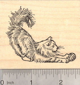 Norwegian Forest Cat Rubber Stamp, Cold Climate Cat from Norway, Siberian, Turkish