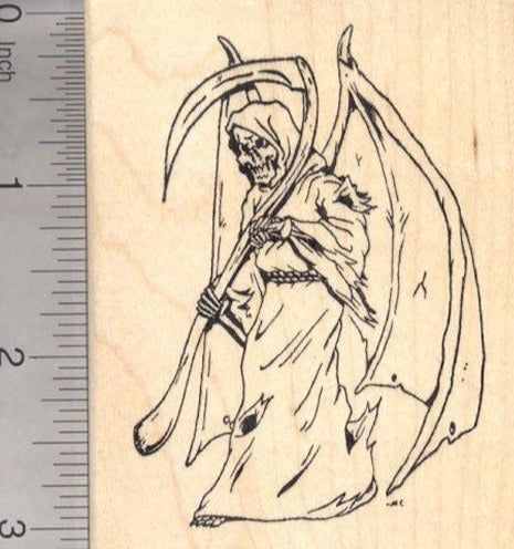 Grim Reaper Rubber Stamp, Angel of Death with Scythe Halloween