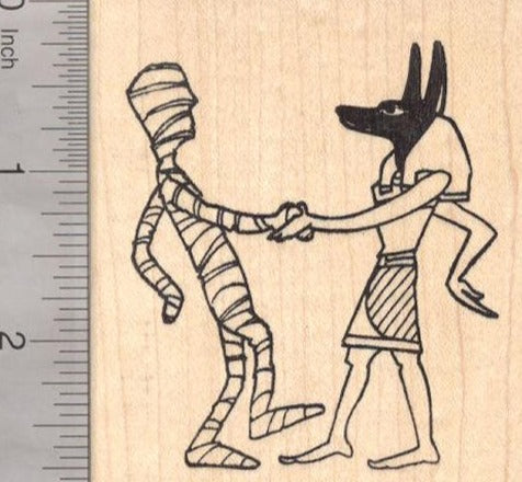 Halloween Dance like an Egyptian Rubber Stamp with Anubis and the Mummy