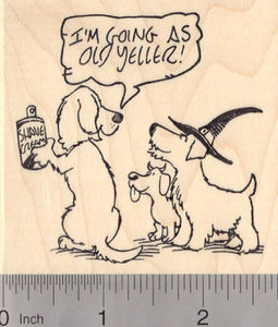 Halloween Trick or Treat Dog Rubber Stamp, Dogs in Costumes