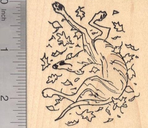 Greyhound Dog Rolling in Autumn Leaves, Thanksgiving Rubber Stamp