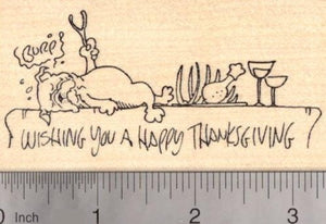 Bulldog Thanksgiving Rubber Stamp, Dog asleep on table