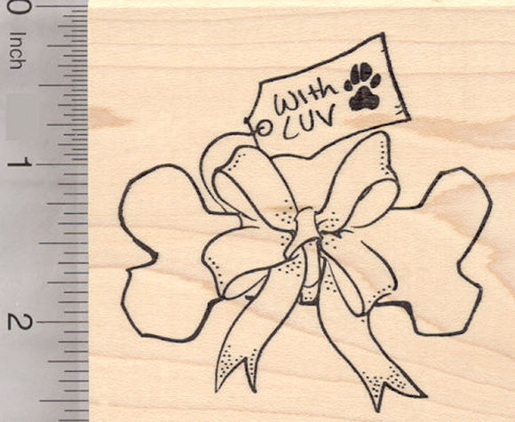With Luv, Holiday Dog Bone Gift Tag Rubber Stamp, Christmas, Hanukkah, Birthday