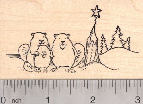 Happy Beaver Family with Christmas Tree Rubber Stamp