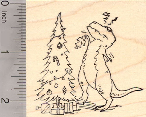 Tyrannosaurus Rex with Christmas Tree Rubber Stamp