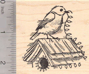 Christmas Songbird with Birdhouse Rubber Stamp, Bluebird