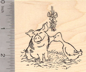 Christmas Pig and Duck Kissing under the Mistletoe Rubber Stamp