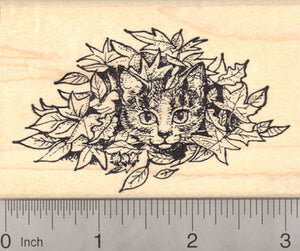 Tabby Cat hiding in Autumn Leaves Rubber Stamp
