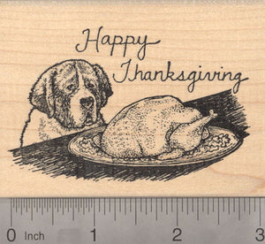 Happy Thanksgiving St. Bernard Dog with Turkey Rubber Stamp