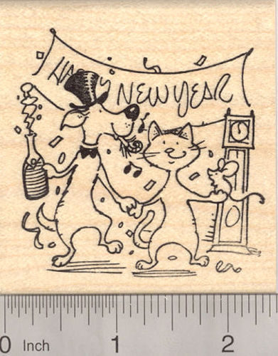 Happy New Year Partying Dog with Cat and Mouse Rubber Stamp
