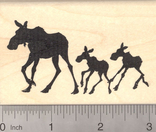 Moose Cow with Calf Twins in Silhouette Rubber Stamp