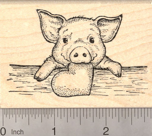 Valentine's Day Piglet with Heart Rubber Stamp, Baby Pig