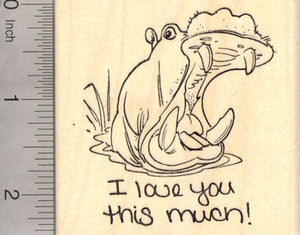 I love you this much! Hippopotamus Rubber Stamp, Hippo