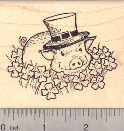 St. Patrick's Day Leprechaun Pig Rubber Stamp