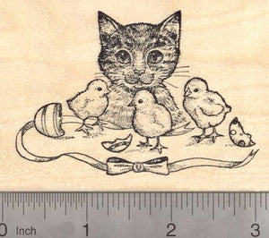 Easter Cat with Baby Chicks Rubber Stamp
