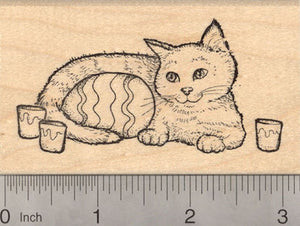 Easter Cat with Painted Egg Rubber Stamp