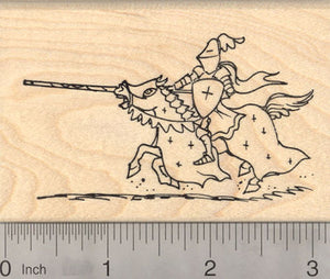 Jousting Medieval Knight Rubber Stamp, in shining armor