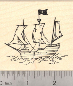 Pirate Galleon Rubber Stamp, Pirate Ship with Jolly Roger