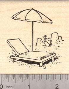 Chaise Lounge Chair with Umbrella Rubber Stamp, Beach Themed Stamps