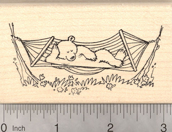 Bear Napping in Hammock Rubber Stamp, Summer Fun