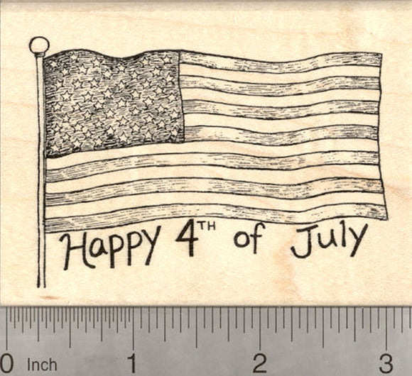 Happy 4th of July Rubber Stamp, American Flag