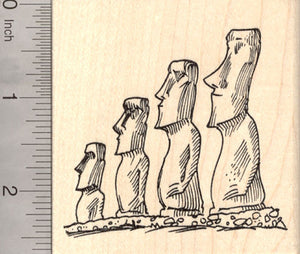 Easter Island Heads Rubber Stamp, Moai Statues, Rapa Nui People